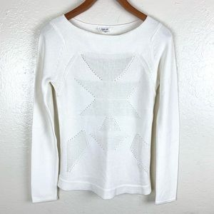 Helmut Lang Cream Ribbed White Pullover Sweater